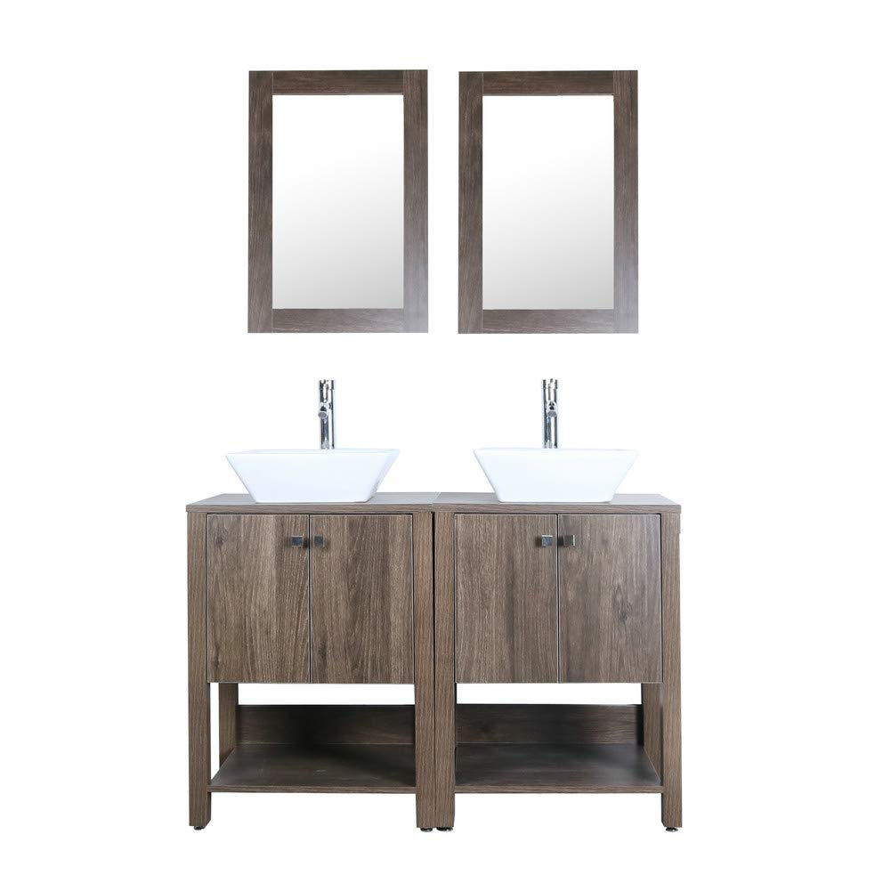 Brown 48 Bathroom Vanity Double Sink MDF Wood Cabinet w Mirror Faucet and Drain