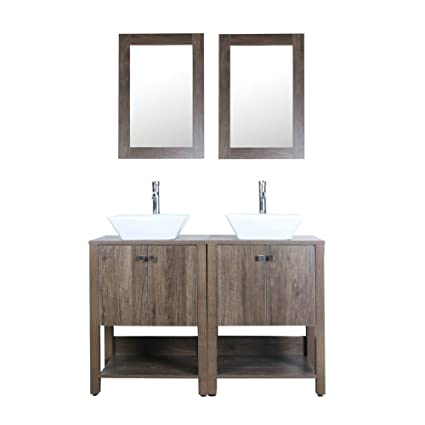 Amazing Brown 48 Bathroom Vanity Double Sink Mdf Wood Cabinet W Mirror Faucet And Drain Download Free Architecture Designs Ferenbritishbridgeorg