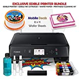 Mobile Deals Edible Birthday Cake Topper and Tasty Treats Image Printer Bundle - Includes Canon Wireless Printer, Edible Ink Cartridges and 50 Sheets of Wafer Paper