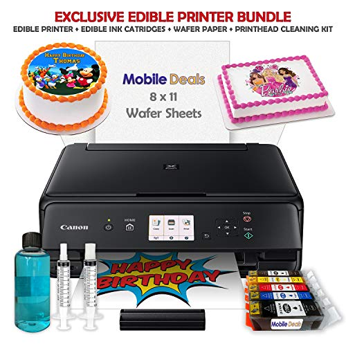 Mobile Deals Edible Birthday Cake Topper and Tasty Treats Image Printer Bundle - Includes Canon Wireless Printer, Edible Ink Cartridges and 50 Sheets of Wafer Paper (Best Edible Ink Printer)