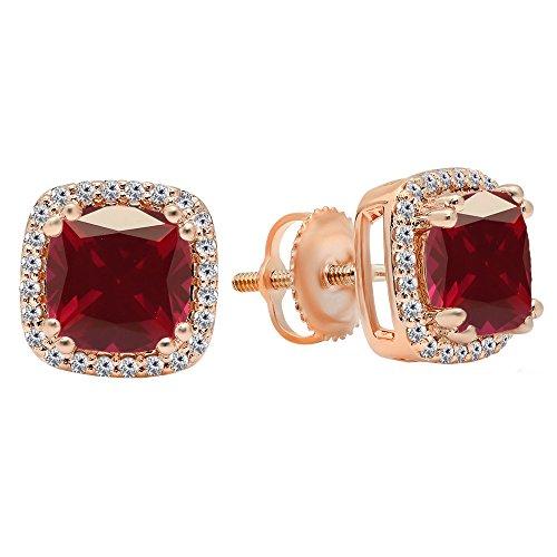 14K Rose Gold Each 6.5 MM Cushion Cut Ruby & Round Cut White Diamond Ladies Stud Earrings Rose Gold Ruby Earrings