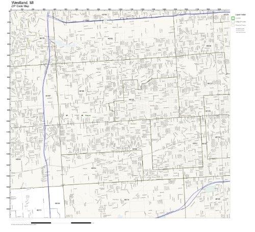 ZIP Code Wall Map of Westland, MI ZIP Code Map - Westland Map