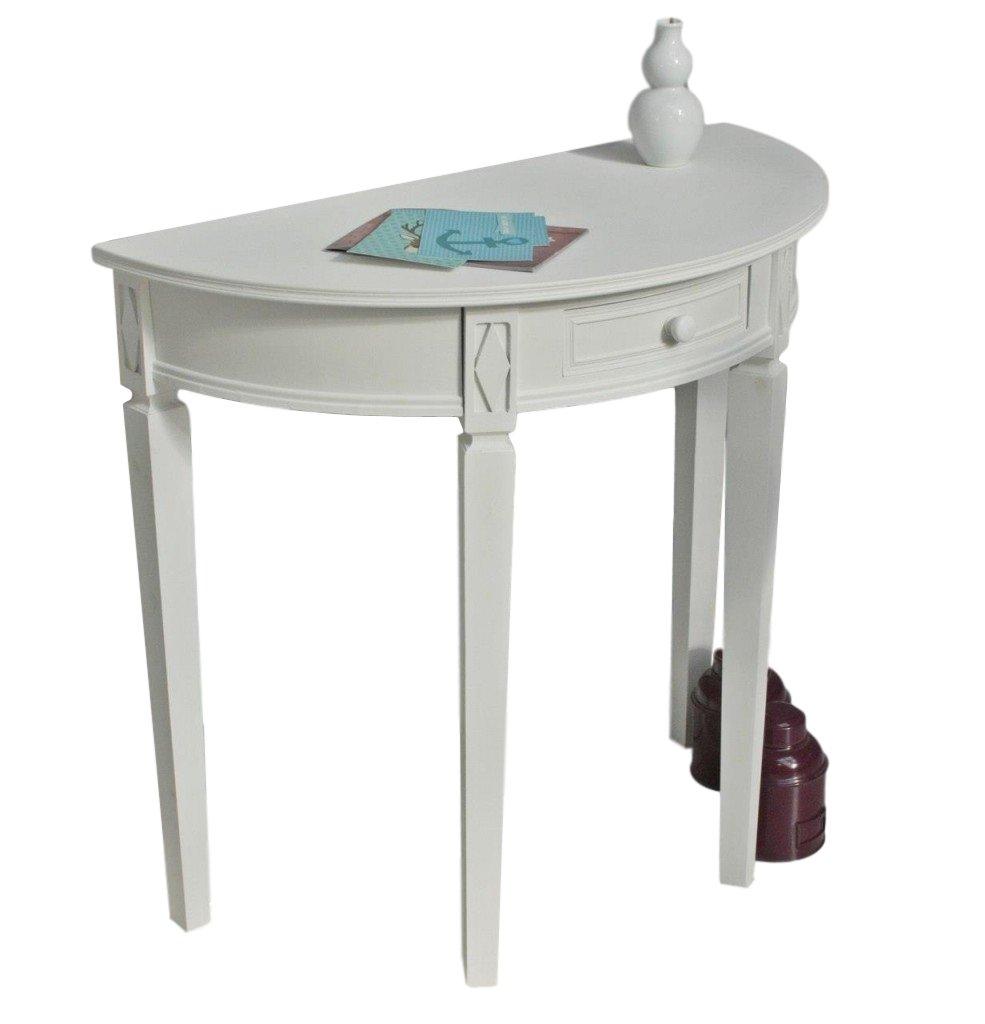 Elbmöbel Anrichte 75H x 80B cm Konsole Sideboard weiß antik Landhaus halbrund rund Tisch Holz massiv
