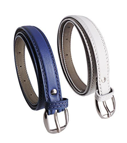 Uniq World Women's,Ladies's,Girl's Belt For Jeans, Combo of Formal Casual Belts For Women/Girls Free Size (26-36)(Blue-White-044)
