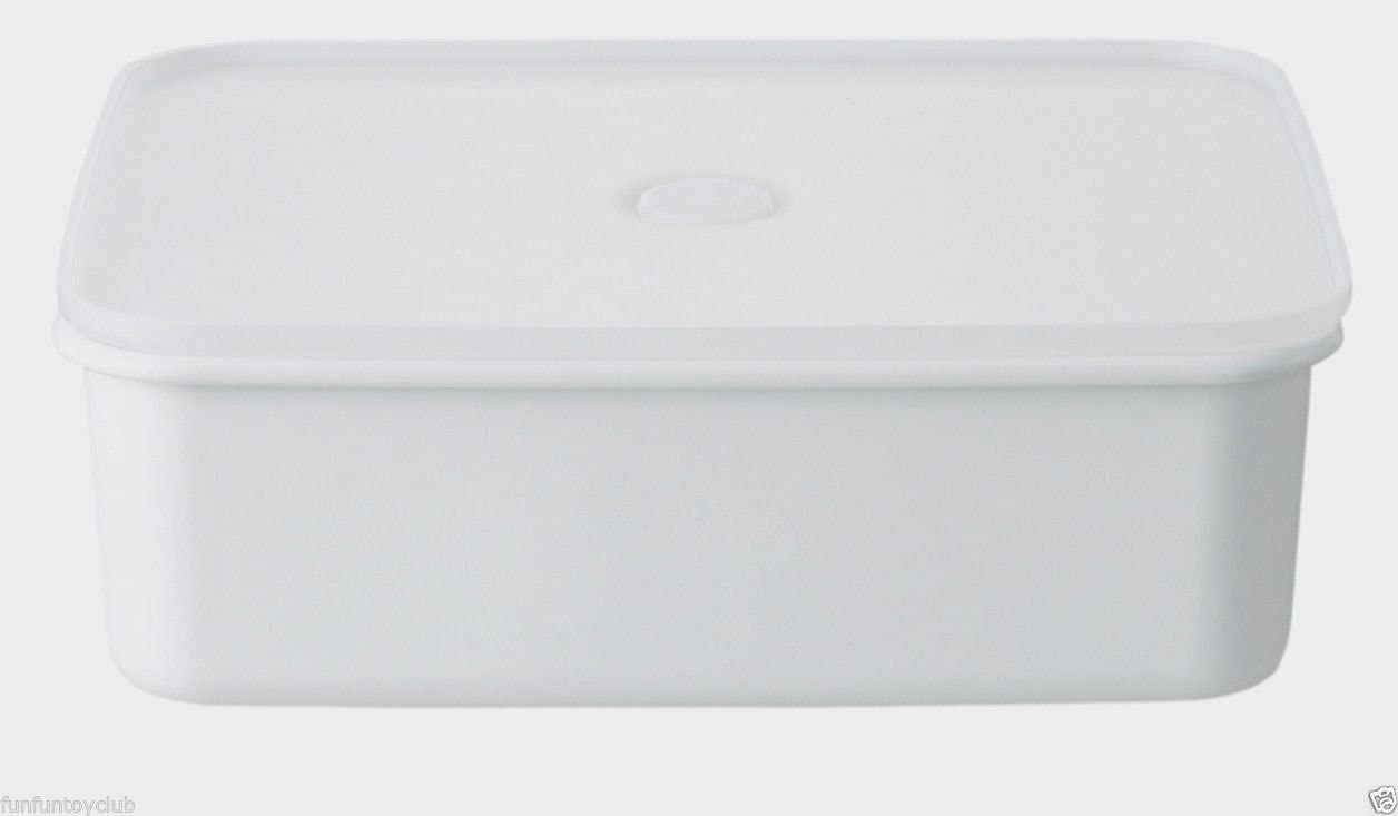 MoMA MUJI deep-valved sealed enamel storage containers 7.5(H) 23.5 (D)× 19(W)cm