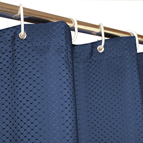 Eforcurtain Extra Long 72 by 78-inch Elegant Waffle Shower Curtain Waterproof and Mildew Proof Fabric Bathroom Curtain Heavy Duty, Blue