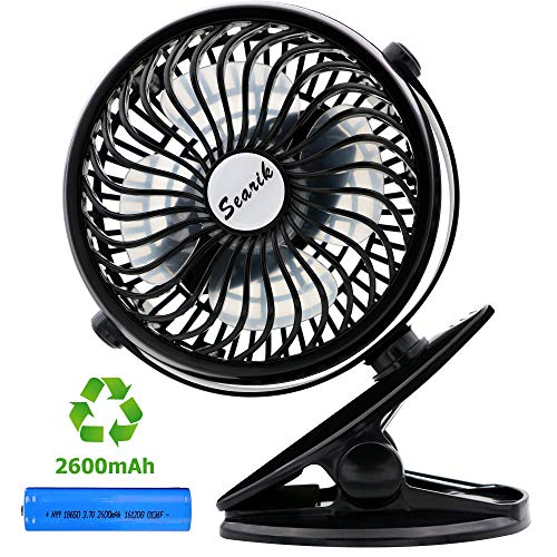 Searik Clip On Stroller Fan Battery Operated, Portable Mini Desk Fans with USB Rechargeable 2600mAh Battery for Baby Stroller, Home, Office, Dorm, Library, Outdoor Activities
