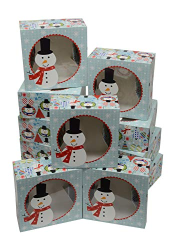 Christmas Cookie gift boxes, fold-able with holiday designs, set of 12 boxes (Winter Snowman) (Cookies Christmas Boxes Gift)