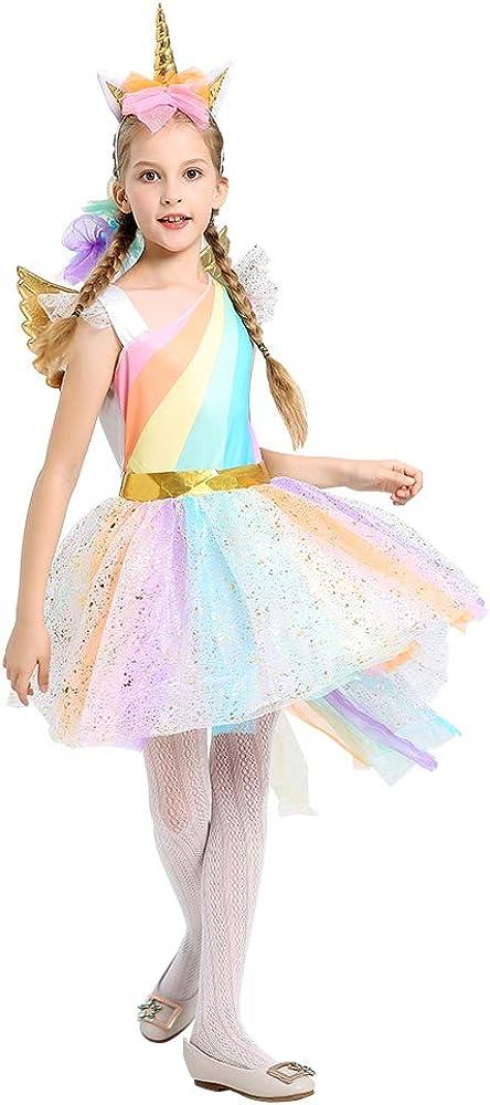 WonderBabe Girls Princess Costume Little Girls Fancy Party Birthday Dress up Halloween Outfit Kids Dress