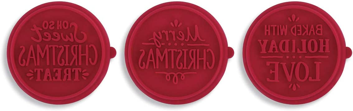 Interchangeable Baked With Love Rosy Red 3 x 3 Silicone Holiday Cookie Stamp