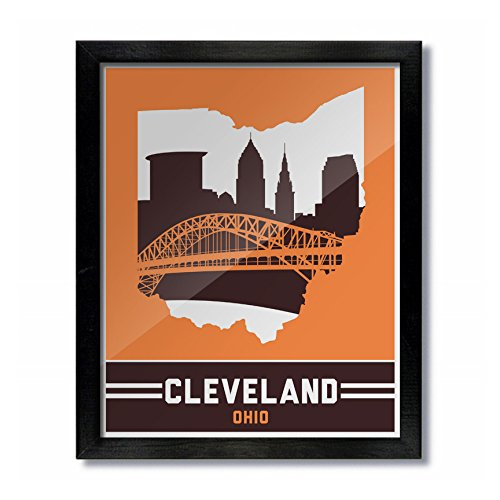 Cleveland Ohio Skyline Vintage Poster Print: 8x10 - Orange/Brown
