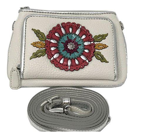 Brighton Womens Garden Girl Medium Leather Wallet Crossbody Clutch, White (Brighton Garden)