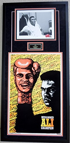 Muhammad Ali - 1975 Original Black Light Velvet Poster and Ain't I Pretty? Limited Edition Giclee Lithograph Photo Print - Black Custom FRAME measures 60x28 inches - Cassius Clay]()