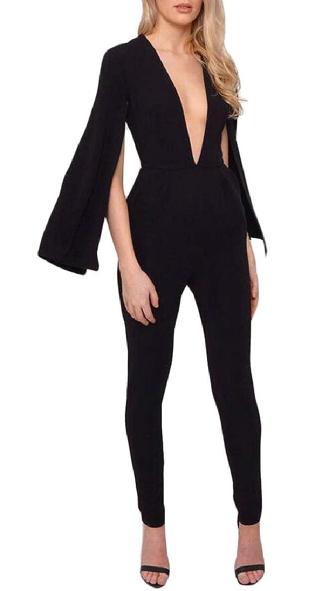 ad8ea69e263 Amazon.com  ONTBYB Women s Deep V Neck Jumpsuits Cape Sleeve Jumpsuits  Business Suit  Clothing