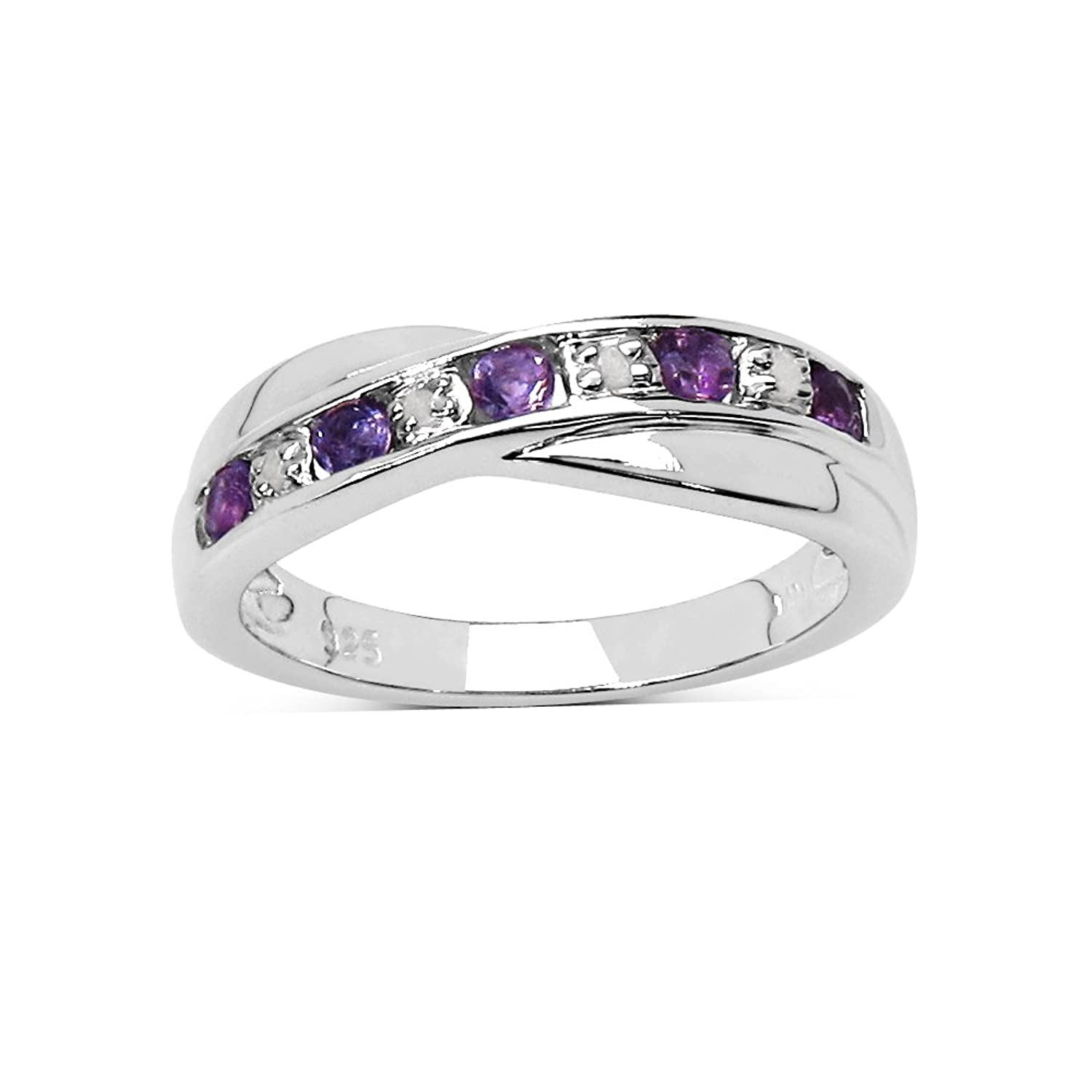 The Amethyst Ring Collection: Amethyst & Diamond Channel Set Crossover  Eternity Ring In Sterling Silver, Mother's Day, Anniversary Gift, Ring Size  H,i,j,k,l