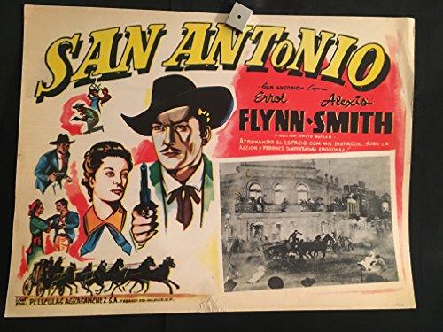 San Antonio 1945 Original Vintage Mexican Lobby Card Movie Poster, Errol Flynn, Alexis Smith, Cowboy, Western, Country