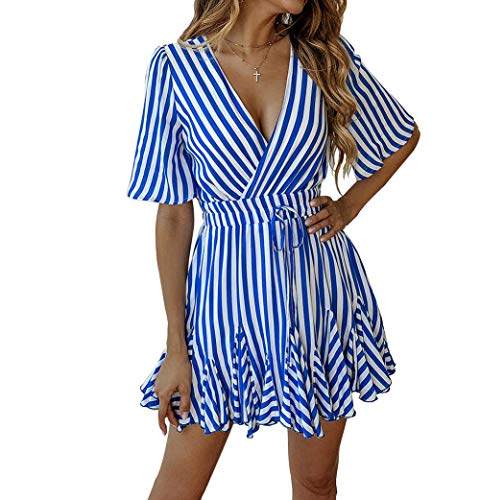 - Finerease Women's Deep V-Neck Short Sleeve Striped Mini Casual Ruched Dress (Blue, X-Large)