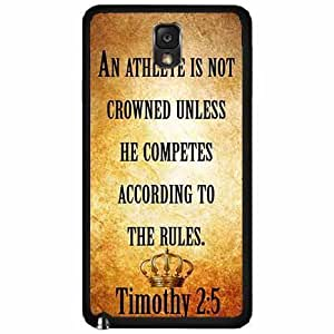 Timothy 2:5 Bible Verse TPU RUBBER SILICONE Phone Case Back Cover Samsung Galaxy Note III 3 N9002