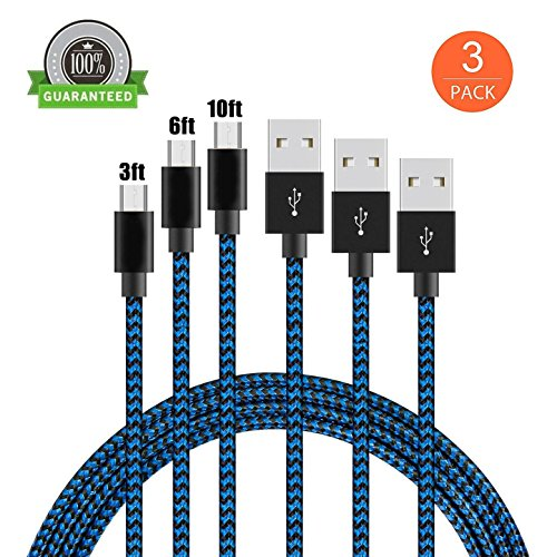 KMISS Micro USB Cables, [3-Pack 3FT 6FT 10FT] Extra Long Nylon Braided [Fast Charger Cord] Sync and Charge for Android Devices, Samsung Galaxy S7 Edge/S6/S5/S4,Note 5/4/3,HTC,LG,Nexus