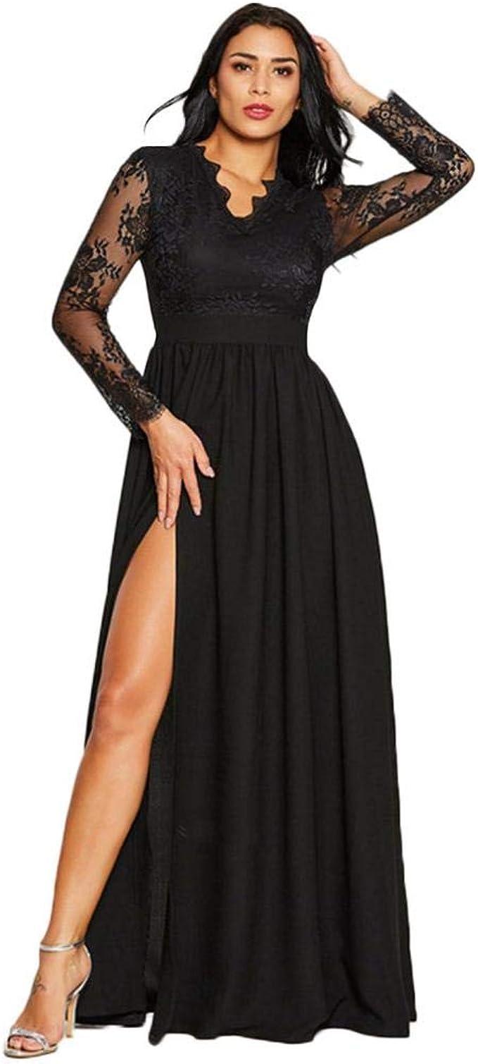 Damen Kleid Elegant Party Spitzekleid Solide Abendkleider Langes Partykleid  Frauen Vintage Kleider Cocktailkleider V-Ausschnitt Langarm Ballkleid