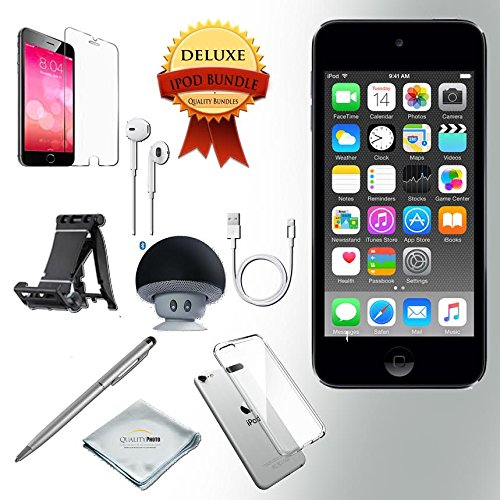 generation Music player, 32GB -GRAY- w/ iTouch Accessory Kit includes; Bluetooth Speaker + Clear Case & Screen Protector + ipod 5-Angle Adjustable Stand + iPod Stylus Pen + Cloth (Itouch Ipod Video)