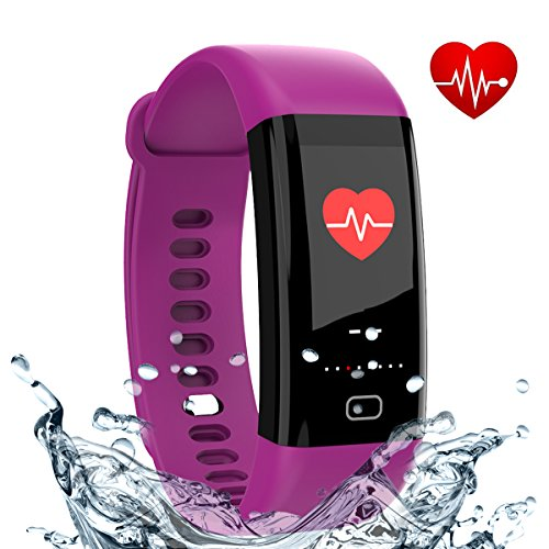 Fitness Tracker, Smart Band with Heart Rate and Blood Pressure Monitor, Activity Tracker,IP67 Waterproof, Pedometer, Sleep Monitor, OLED, Bluetooth 4.0, Compatible with Android and IOS (purple 1) (Pedometer Heart Rate Monitor)