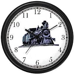 WatchBuddy Engine or Locomotive - Train No.1 Wall Clock Timepieces (Hunter Green Frame)