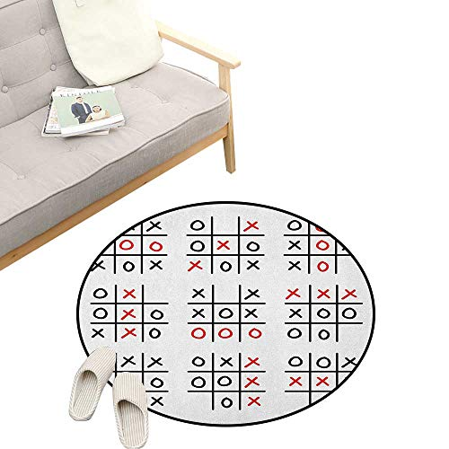 Xo Round Area Rug Non-Slip ,Doodle Style Tic Tac Toe Game Set Table with X and O Letters Artistic Design, Living Room Bedroom Coffee Table 47
