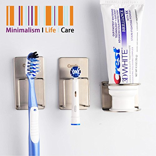 CASAFE+ Wall Mounted Toothbrush Holder Toothpaste Holder Stand (3 (Wall Mounted Toothbrush Holder)
