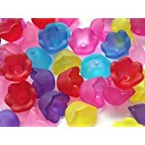75 Frosted Acrylic Lucite Tulip Flower Beads Caps, Assorted Multicolor 10mm (Assorted)
