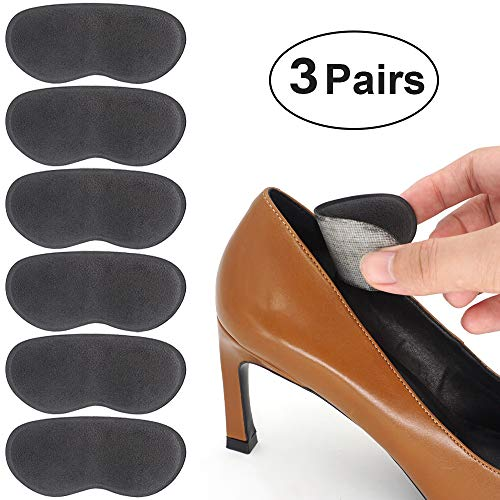 Beautulip Heel Grips Pads Adhesive Back of Heel Cushions Anti-Slip Foam Inserts Heel Protectors - Comfortable Insole for Heels Pack of 6 (Dark Gray) ()