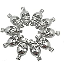 Silver Tone Pearl Cage Pendant 10pcs Skull Head Openable Locket Necklace Making Add Your Own Bead, Pompon
