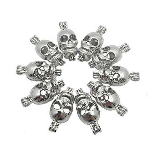 Silver Skull Locket Necklace - 5