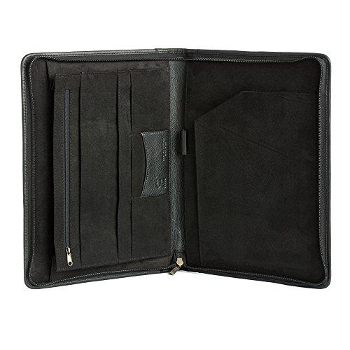 Dokumententasche aus Leder mit A4 Blockhalter der Marke DV Schwarz
