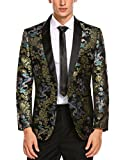 COOFANDY Men's Slim Fit Stylish Casual One-Button Suit Coat Jacket Business Blazers Black 1 Small