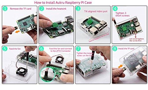 Raspberry Pi 3 Fan Case, Aukru Clear Case with Cooling Fan Heatsink for Raspberry Pi 3 Model B Accessories Pi 2 Model B + Desktop Starter Kit (Transparent Case, Cooling Fan, Heat sink) by Aukru (Image #5)