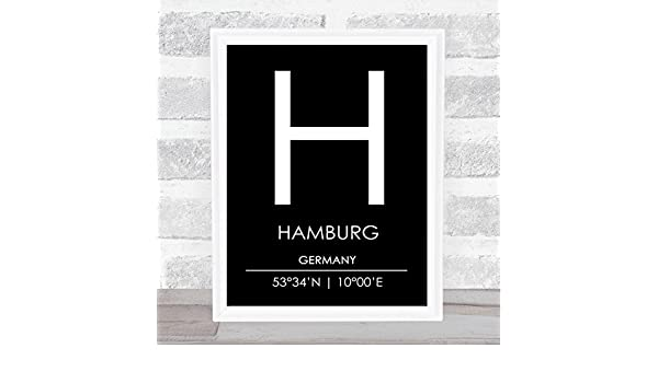 Hamburg Germany Coordinates World City Travel Quote Wall Art Print