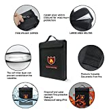 """Fireproof Document Bag,ENGPOW Fireproof Water Resistant Pouch with Handle Zipper (15""""x12""""x3"""") Non-Itchy Silicone Coated Fiberglass Envelope, Fire-Resistant Safe Storage of Valuables"""