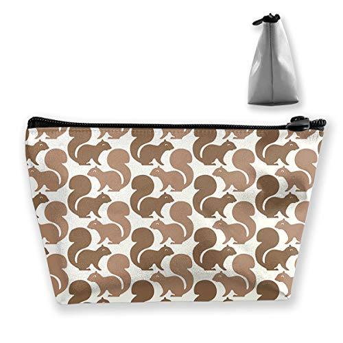 Makeup Bag Cosmetic Squirrel Brown Animal Portable Cosmetic Bag Mobile Trapezoidal Storage Bag Travel Bags with Zipper ()