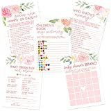 Floral Baby Shower Game Set | Contains 5 Games | 50 Sheets Each | Fun Baby Shower Games & Activities | Includes Baby Prediction and Advice, Emoji, Bingo, Who Knows Mommy, and Guess Who Games