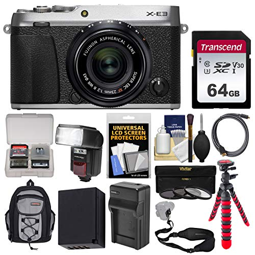 Fujifilm X-E3 4K Digital Camera & 23mm f/2 XF Lens (Silver) with 64GB Card + Backpack + Flash + Battery & Charger + Tripod + Filters + Strap Kit