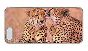 Customized iphone 5S for cheap covers Cheetah taking a break PC Transparent for Apple iPhone 5/5S