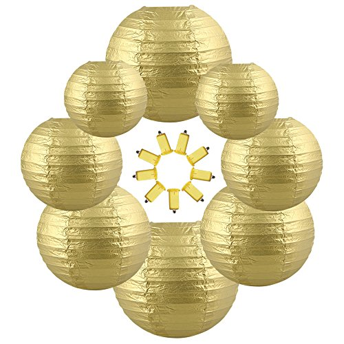 Neo LOONS Gold Round Chinese/Japanese Paper Lanterns Metal Framed Hanging Lanterns-- Assorted Sizes--Birthday/Wedding/Christmas/Ceiling Party Supplies Favors Hanging Decoration