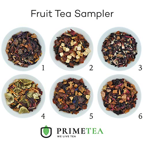 REAL FRUIT TEA SAMPLERS - 6 Ounce Total ≈ 90 Servings - Delicious Vegan All Natural Flavors Assortment of Loose Leaf Tea - Hot or Iced - Variety Pack - No Artificial Flavors (Perfect Fruit Tea #1)