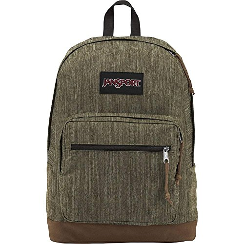 NEW WITH TAGS JANSPORT BACKPACK ARMY GREEN MELANGE LEATHER B