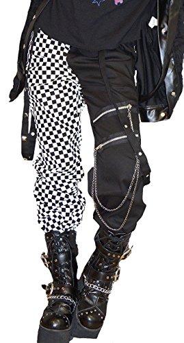 Japanese Gothic Fashion (Hippies Women's Pants Straight Punk Rock Vkei Block Check One Size,Black 8135)