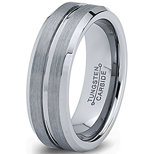 d Ring 8mm 6mm for Men Women Comfort Fit Beveled Edge Cut Polished FREE Custom Laser Engraving Lifetime Guarantee ()