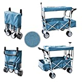 WagonBuddy Blue Free ICE Cooler Push Pull Handle Folding Baby Stroller Wagon Outdoor Sport Collapsible Kids Trolley W/ Canopy Garden Utility Shopping Travel Beach CART - Easy Setup NO Tool Necessary