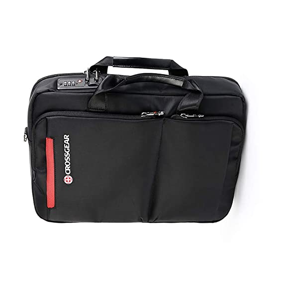 CrossGear Briefcase with Combination Lock Anti Theft Business Office Bag Laptop Sleeve case,for Men Women CR-2803BK Black