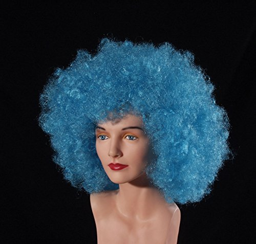 Loftus International Adult Giant Afro Halloween Wig, Blue, One Size Giant Afro Wig